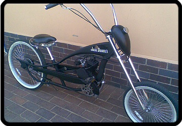 custom chopper bicycle with engine